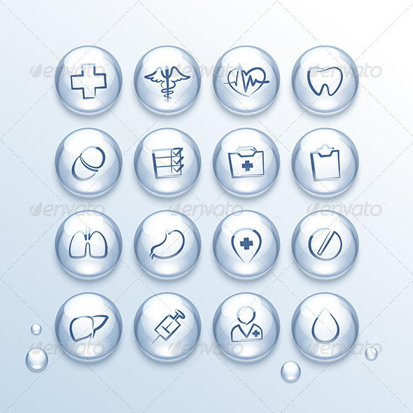 GraphicRiver Medical Icons Set in Drops 7813147
