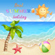 Summer Beach Illustration - GraphicRiver Item for Sale