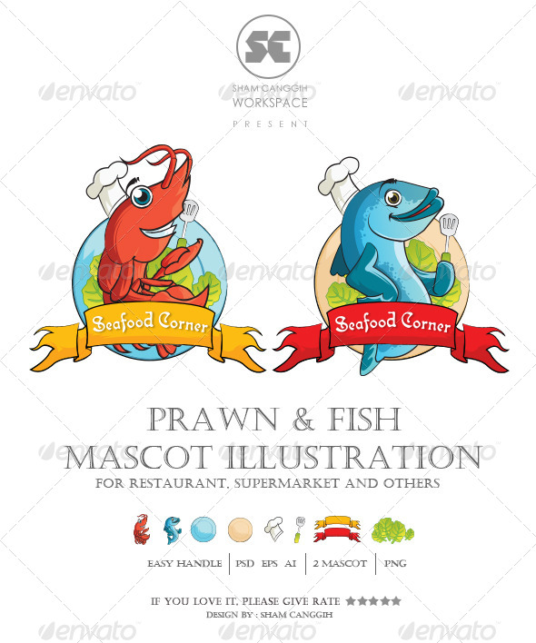 GraphicRiver Prawn and Fish Mascot Illustration 7806181
