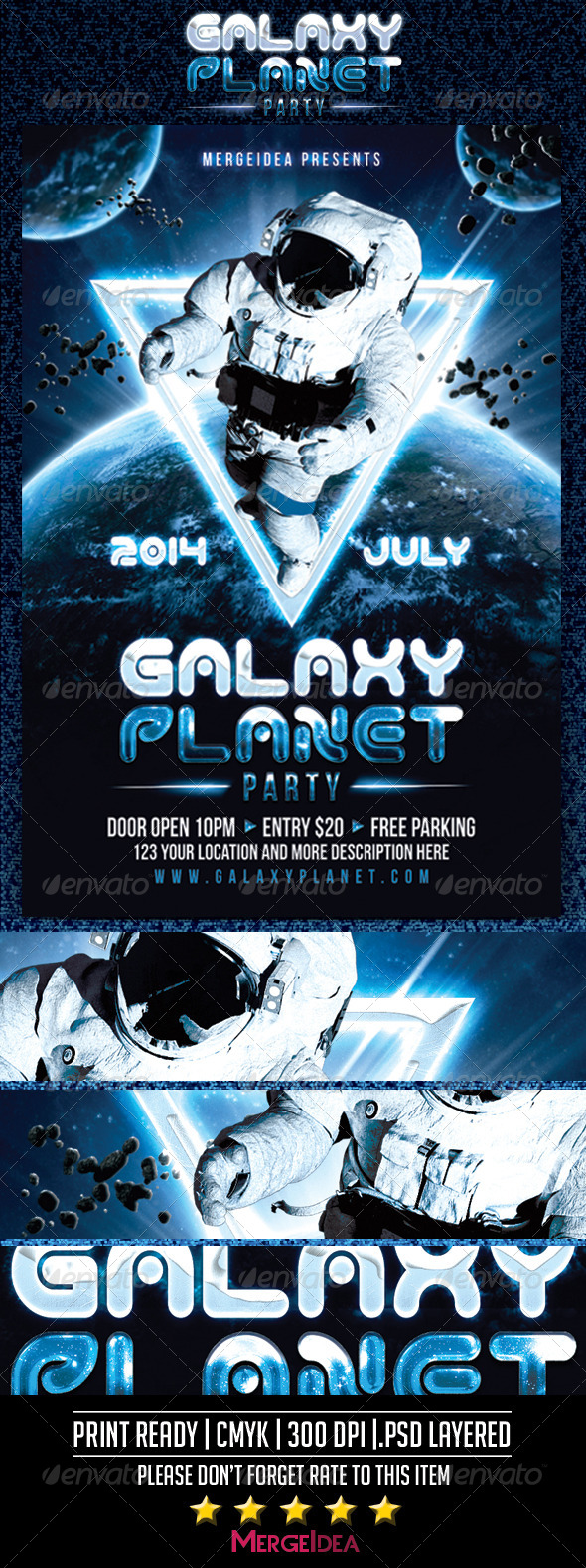 GraphicRiver Galaxy Planet Party Flyer 7827036