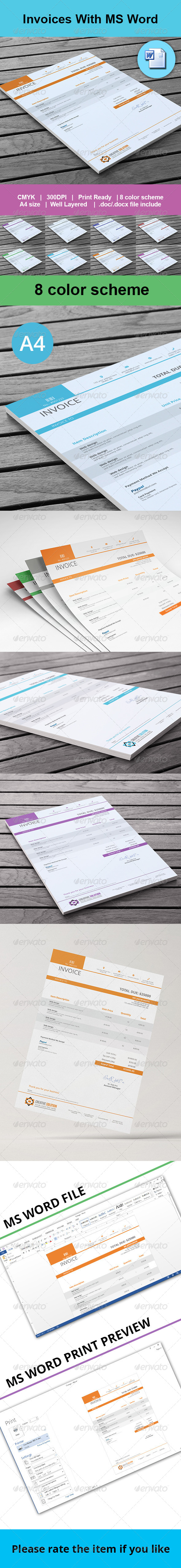 GraphicRiver Invoices With MS Word 7827829