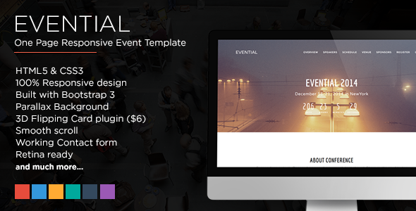 ThemeForest Evential One Page Responsive Event Template 7828255