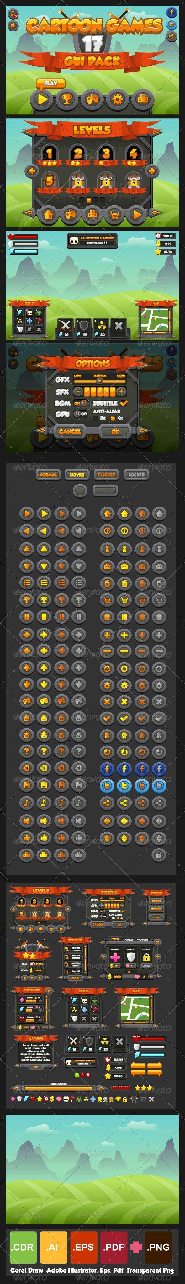 GraphicRiver Cartoon Games GUI Pack 17 7829900