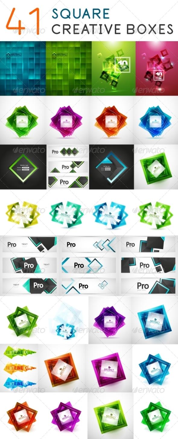 GraphicRiver Square Web Boxes Mega Set 7830355