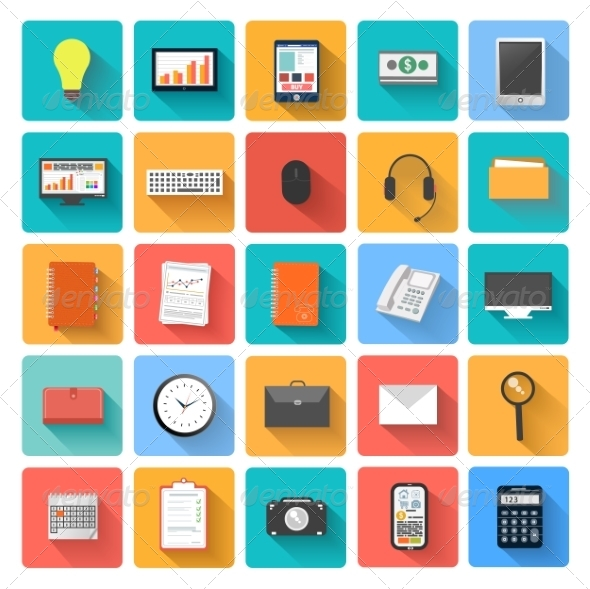 GraphicRiver Set of Office and Business Work Icons 7830436