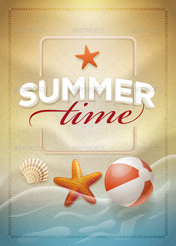 GraphicRiver Summer Time on Beach Sand Poster Design 7830457
