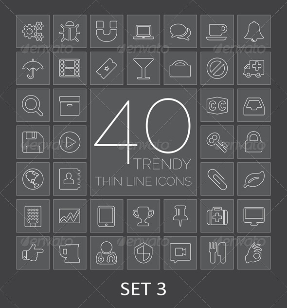 GraphicRiver 40 Trendy Thin Line Icons Set 3 7830914