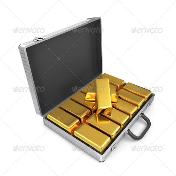 GraphicRiver Metal Case with Gold Bars 7836764
