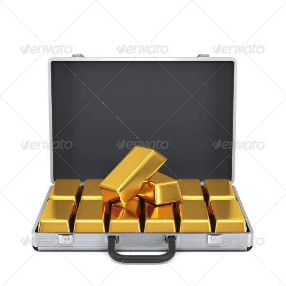 GraphicRiver Metal Case with Gold Bars 7836765