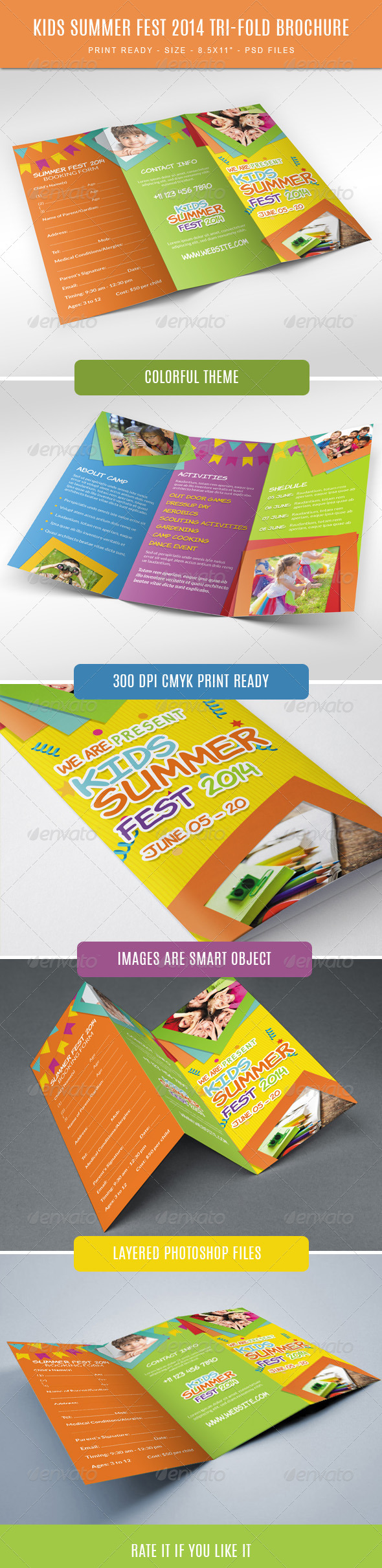GraphicRiver Kids summer camp fest 2014 trifold brochure 7836832