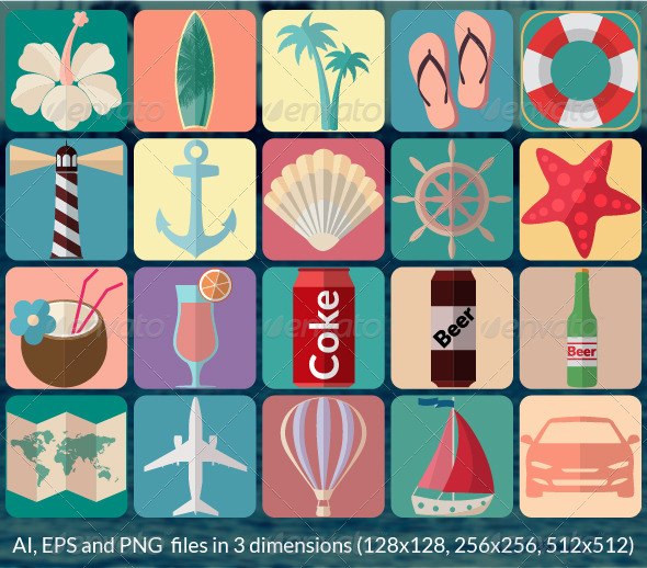 GraphicRiver Summer Vacation Icons 7836958