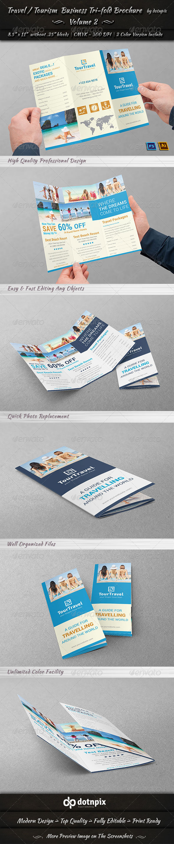 GraphicRiver Travel Tourism Tri-Fold Brochure Volume 2 7836994
