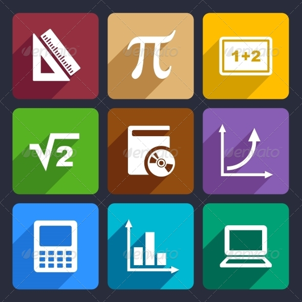 GraphicRiver Mathematics Flat Icons Set 52 7838553