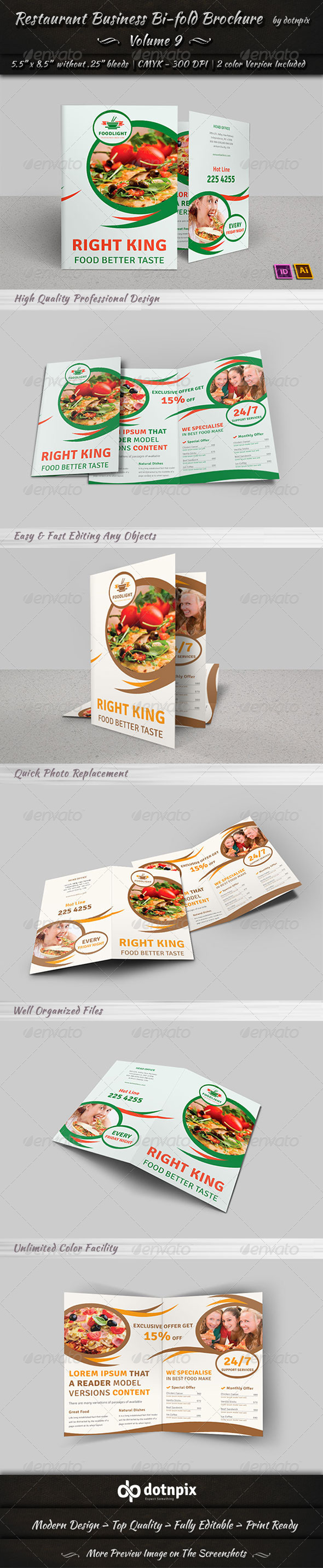 GraphicRiver Restaurant Business Bi-Fold Brochure Volume 9 7838598