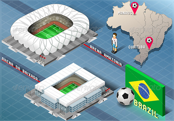 GraphicRiver Isometric Stadium of Manaus and Curitiba Brazil 7839667