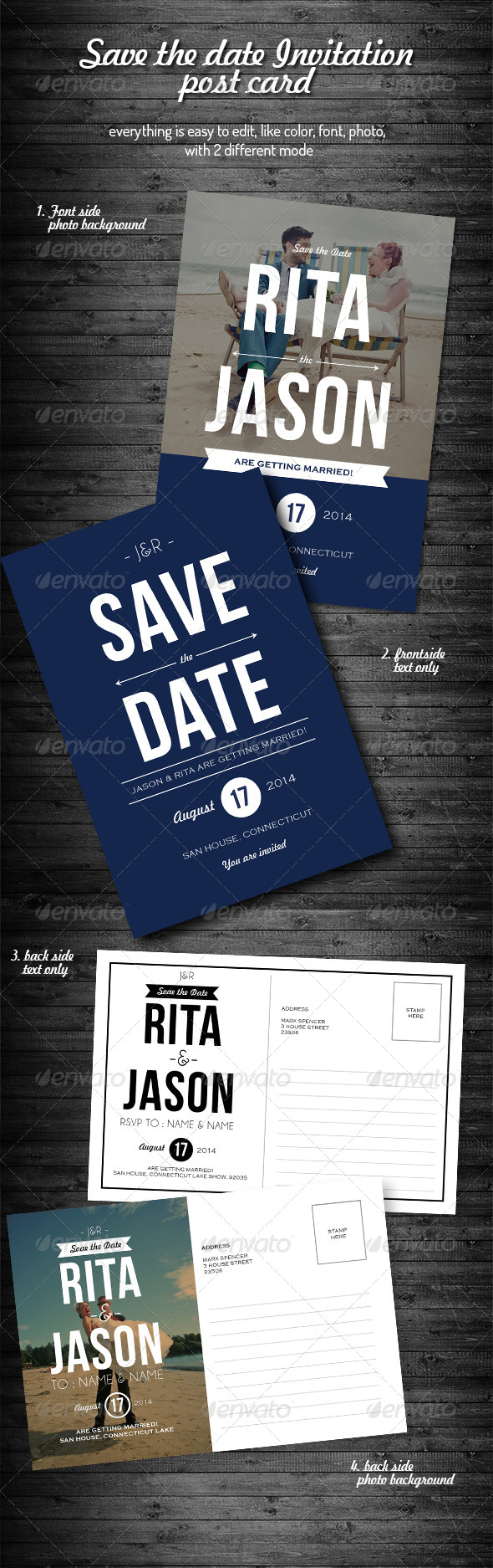 GraphicRiver Save the Date Invitation Card Template 7840177