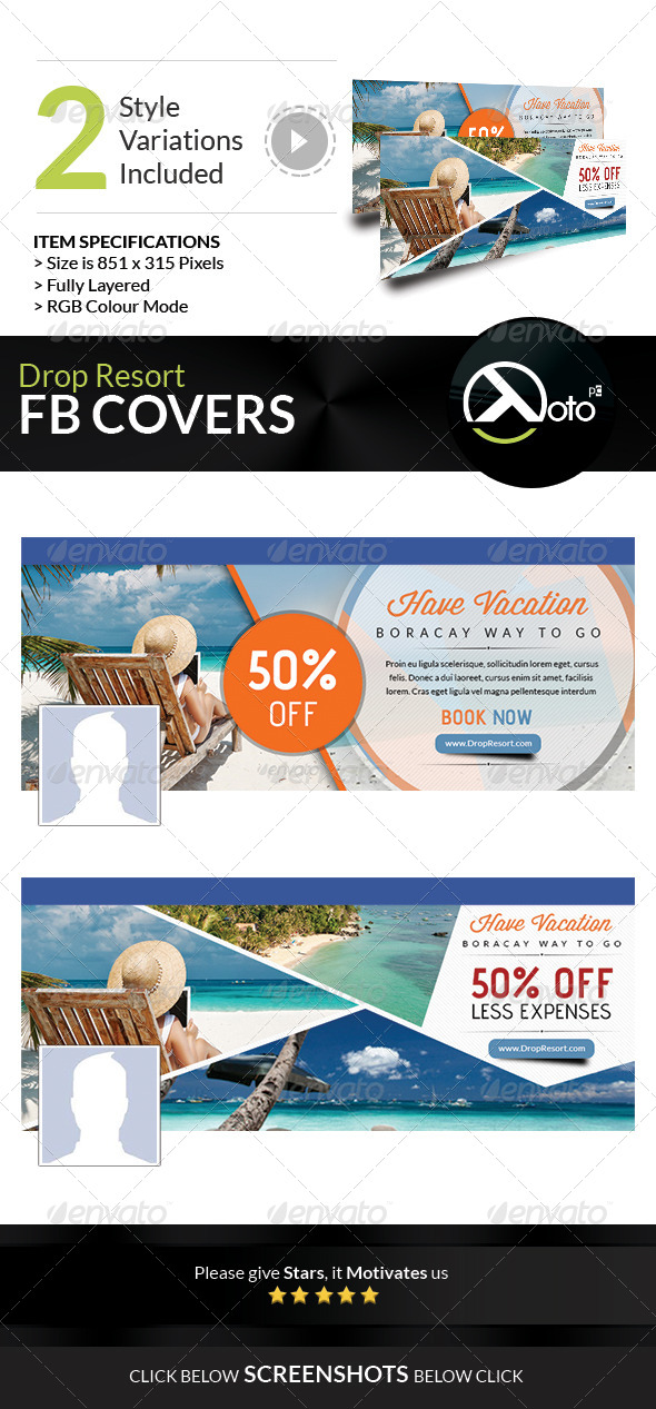 GraphicRiver Drop Beach Resort Vacation Trip FB Covers 7841609