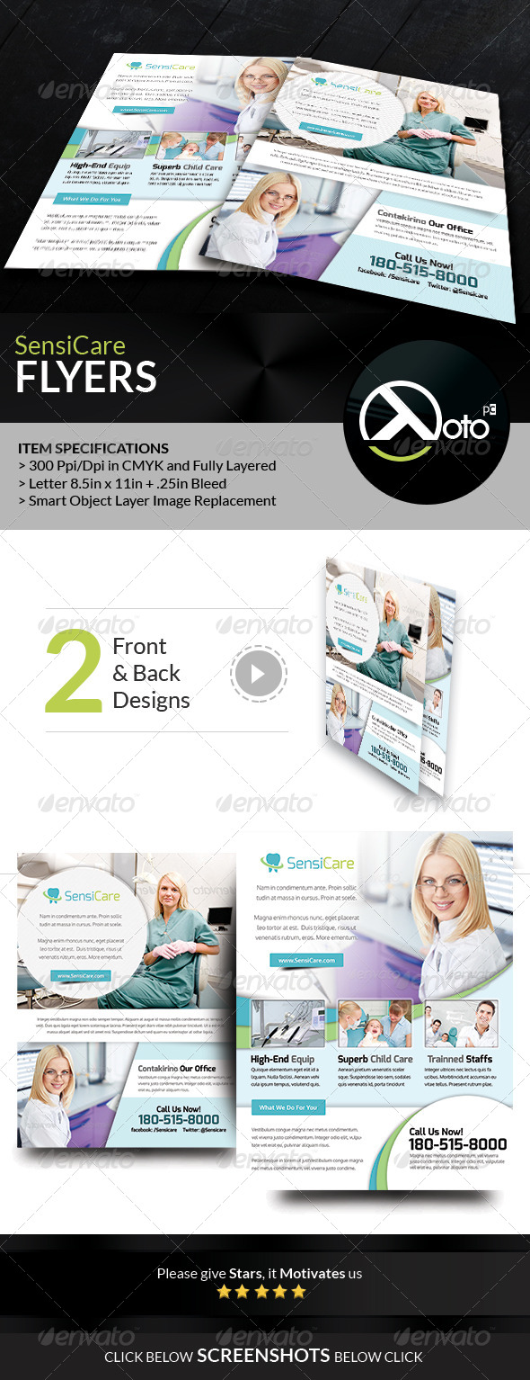 GraphicRiver SensiCare Medical Dental Health Care Flyers 7841700