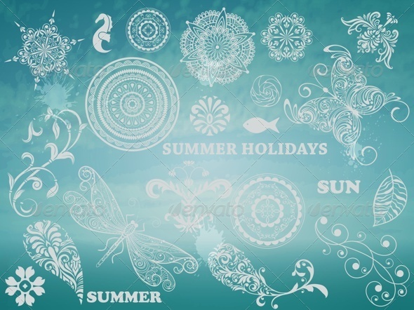 GraphicRiver Summer Design Elements 7842261