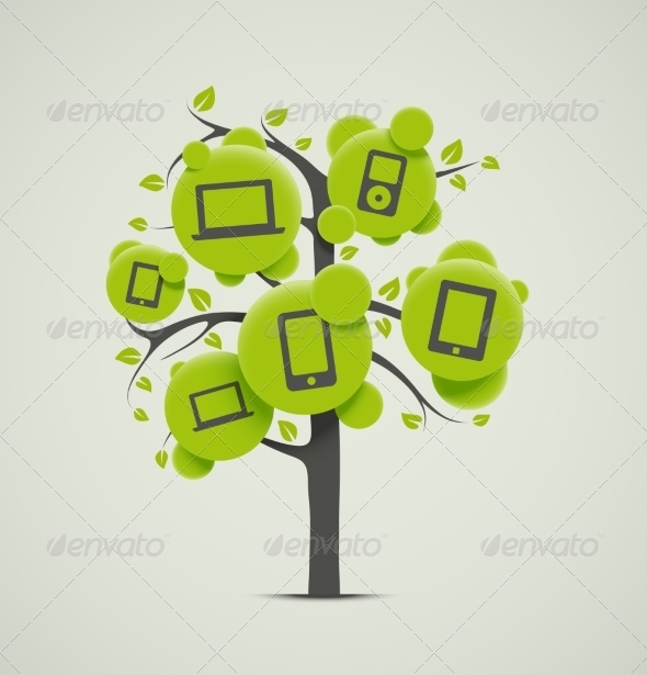 GraphicRiver Tree with Electronic Icons 7842451