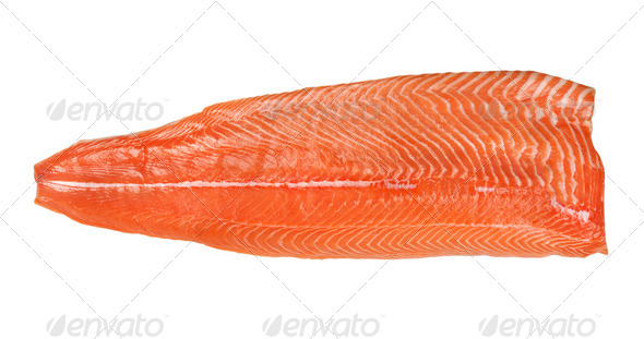 salmon fillet isolated on a white background - Stock Photo - Images