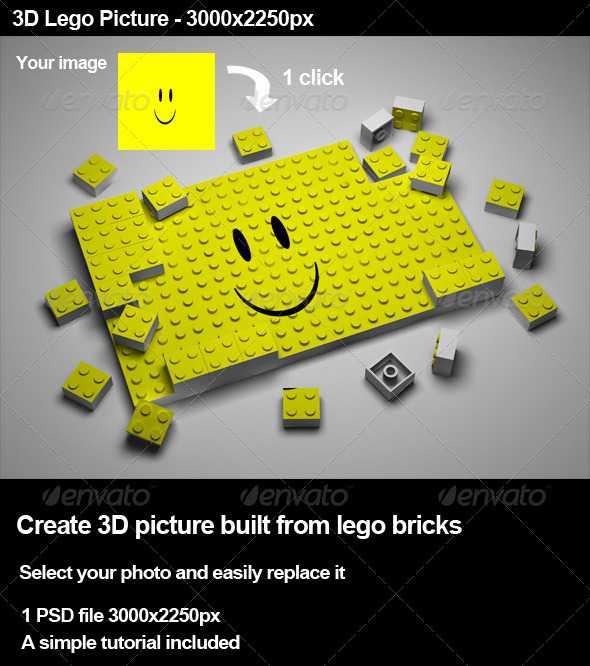 create 3d lego picture in photoshop