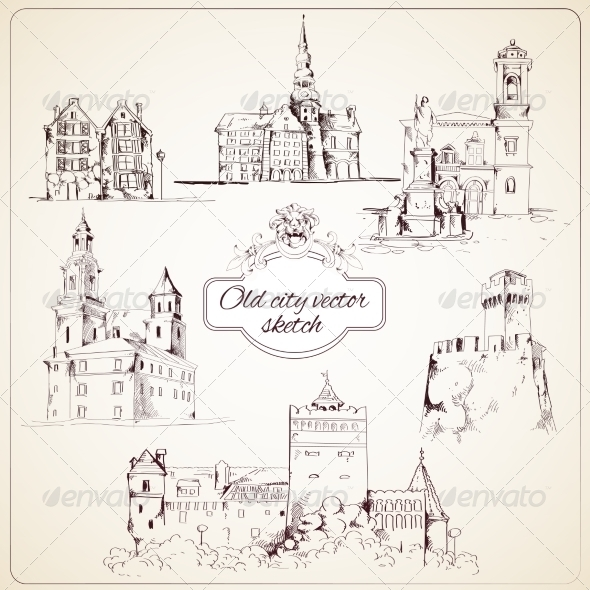 GraphicRiver Old City Sketch 7842900