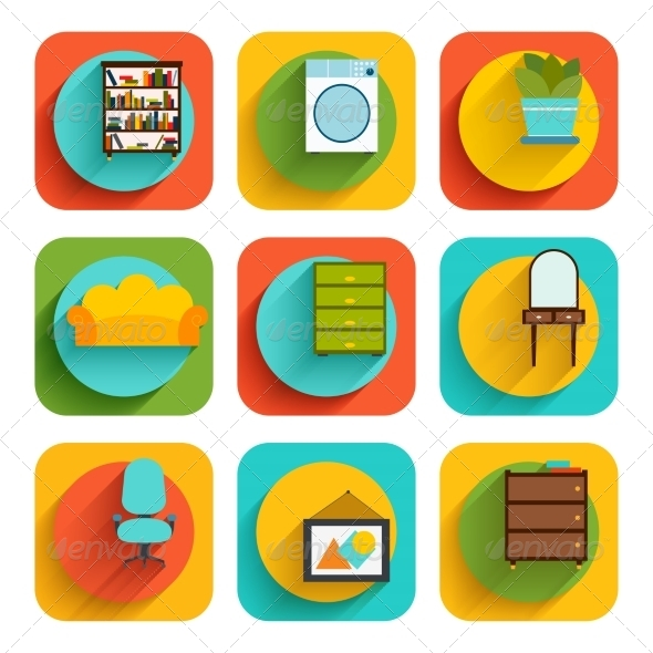 GraphicRiver House Interior Furniture Icons 7842919