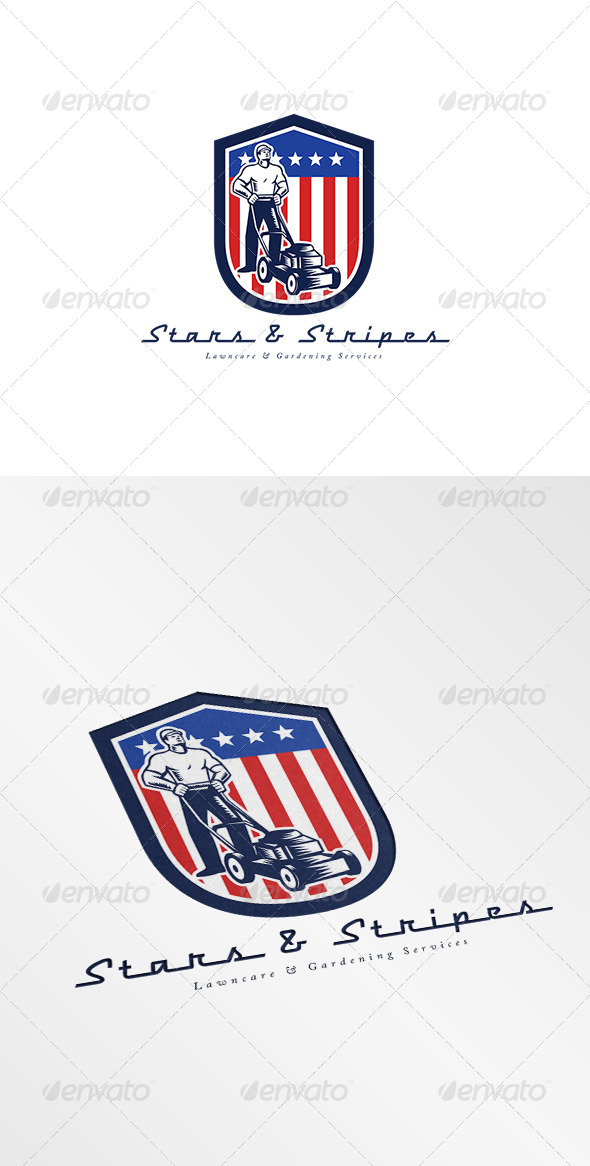 GraphicRiver Stars and Stripes Gardening Services Logo 7843837