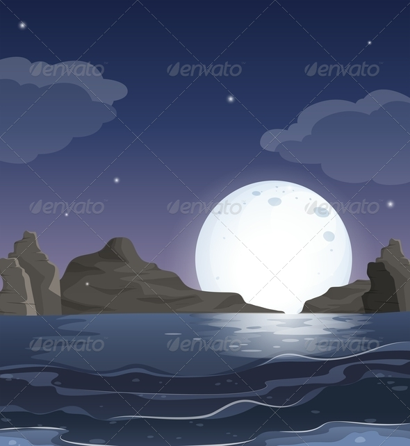 GraphicRiver View of the Ocean at Night 7844162