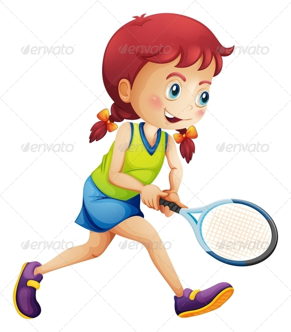GraphicRiver A young lady playing tennis 7844166