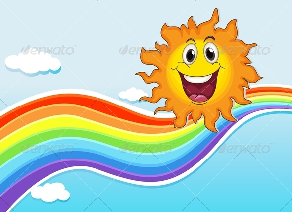 GraphicRiver A smiling sun near the rainbow 7844214