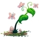 A green plant with butterflies - GraphicRiver Item for Sale