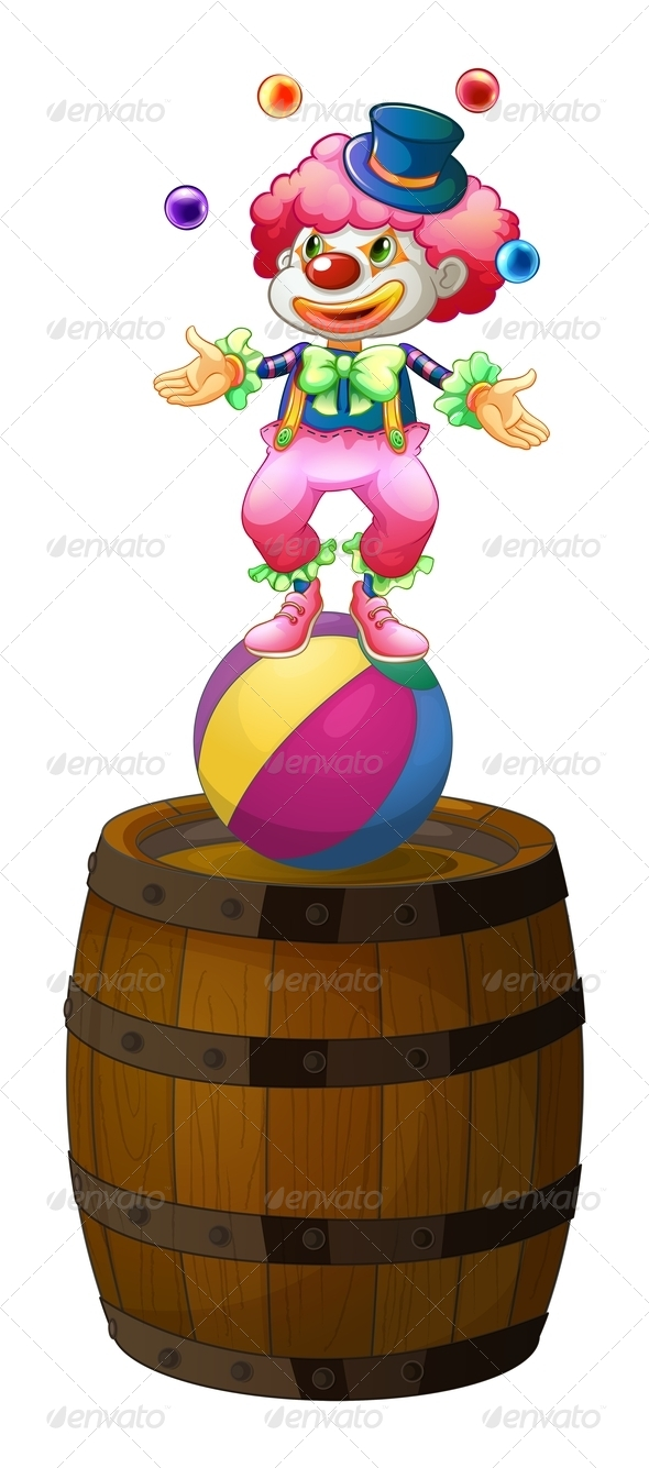 GraphicRiver Clown Juggling Above Barrel 7844263