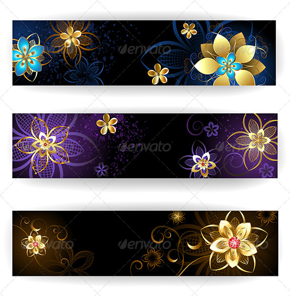 GraphicRiver Three Horizontal Banner with Gold Jewelry 7844333