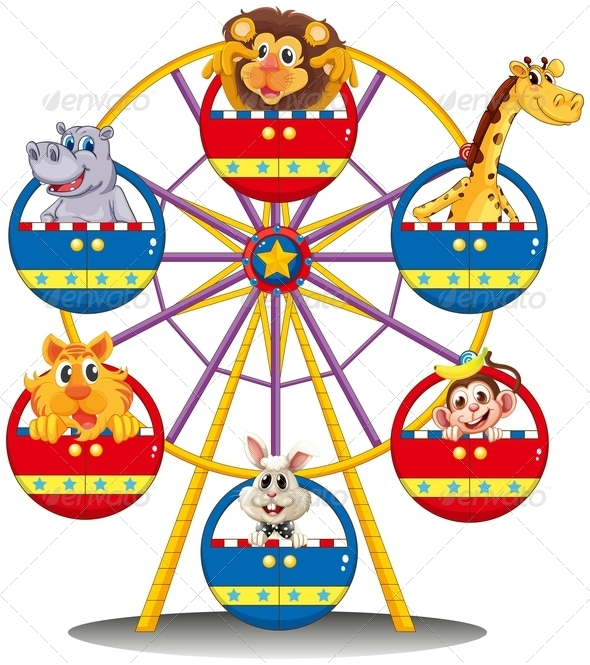 GraphicRiver Carnival ride with animals 7844576