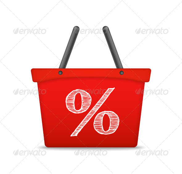 GraphicRiver Shopping Basket with Percent Sign 7844794