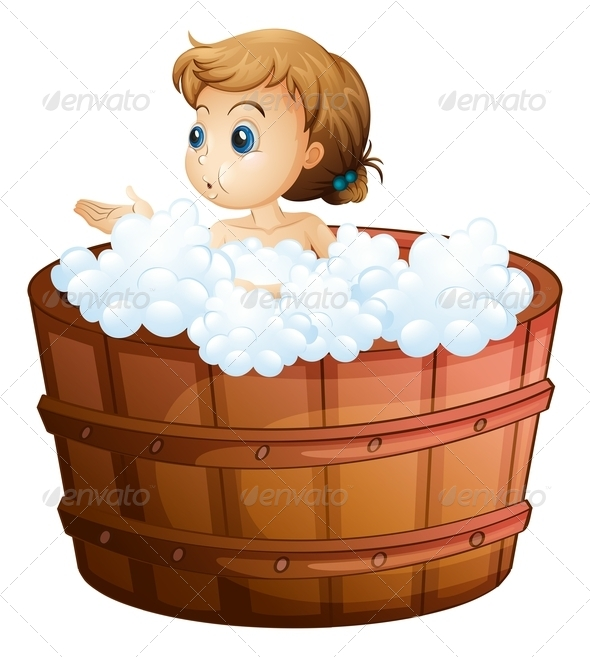 GraphicRiver A young girl taking a bath 7844918