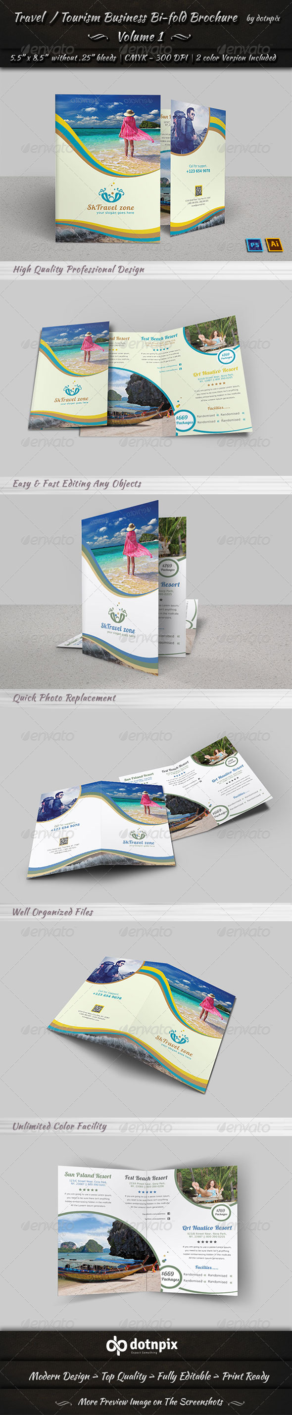 GraphicRiver Travel Tourism Bi-Fold Brochure Volume 1 7844926