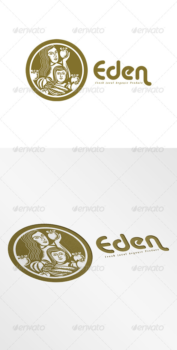 GraphicRiver Eden Fresh Organic Local Produce Logo Retro 7845072