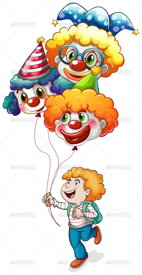 GraphicRiver Happy Boy with Clown Balloons 7845172