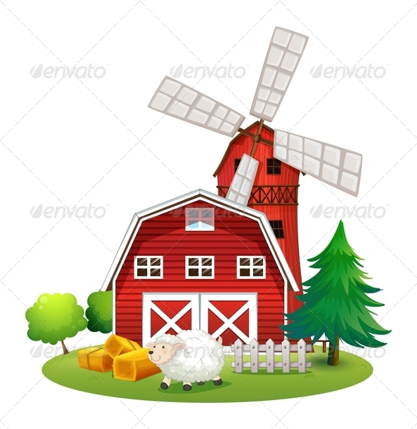 GraphicRiver Red Barn House and Sheep 7845273