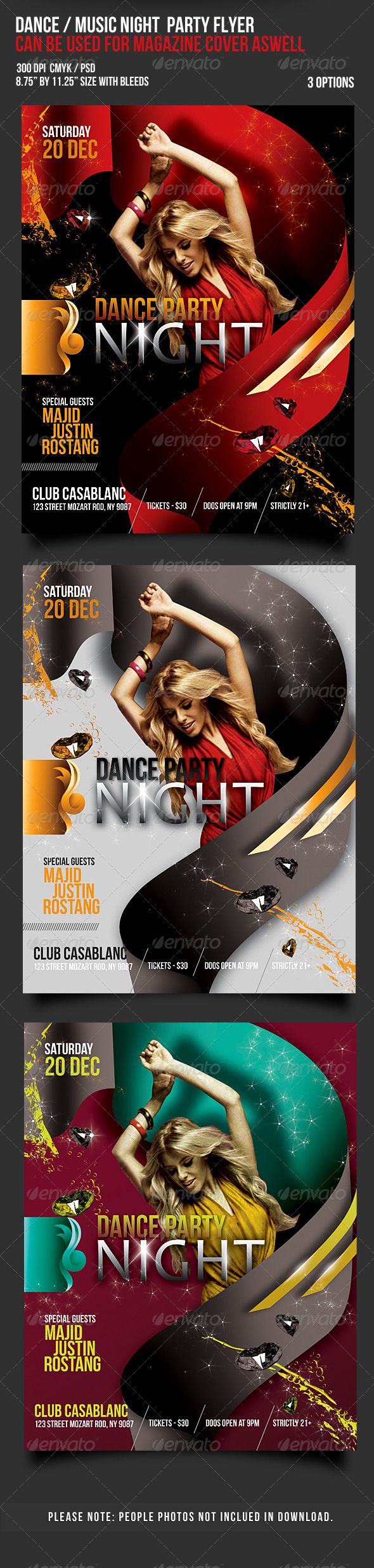 Music Dance Party Night Flyer / Magazine Cover -2 - Clubs & Parties Events