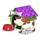 Dog outside Dog House with Food - GraphicRiver Item for Sale