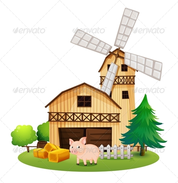 GraphicRiver Pig in Front a Farmhouse with Windmill 7845412
