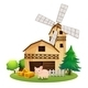 Pig in Front a Farmhouse with Windmill - GraphicRiver Item for Sale