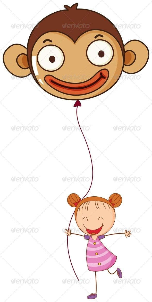 GraphicRiver Girl with Monkey Balloon 7845434