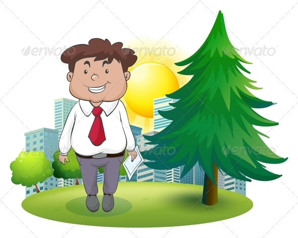 GraphicRiver Fat businessman standing beside pine tree 7845510