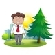 Fat businessman standing beside pine tree - GraphicRiver Item for Sale