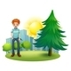 Smiling man beside a pine tree - GraphicRiver Item for Sale